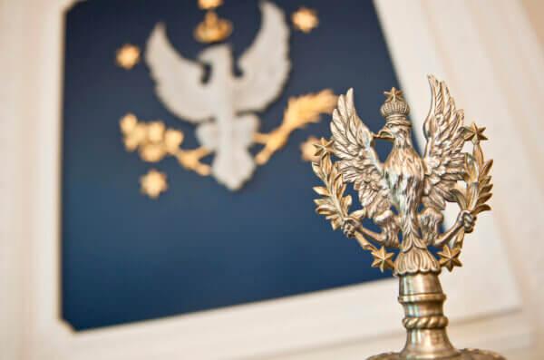 Godło Uniwersytetu czyli orzeł dawny polski w koronie, z rozpostartymi skrzydłami, trzymający w lewym szponie gałązkę palmową, a w prawym laurową, w koło w pięciokąt pięć gwiazd znaczących pięć akademicznych wydziałów. W tle obraz, na kórym jest godło UW
